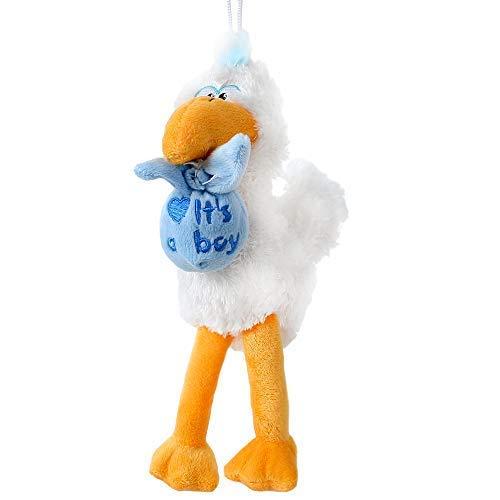 TE-Trend Plüsch Stoff Storch Klapperstorch 26cm Geschenk Geburt Taufe Baby Jungen Babyparty Kuscheltier weiß blau