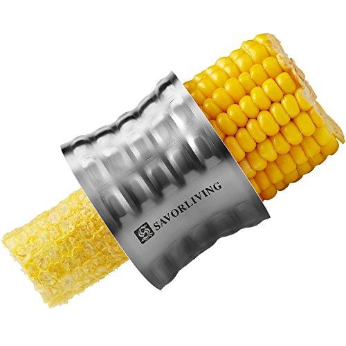 SAVORLIVING Mais Schneider Ergonomisch Manuelle Edelstahl Gezackte Klinge Mais Schäler, Stainless Steel Corn Stripper Corn Slicer