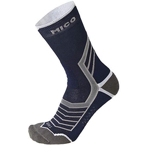 MICO CALZA TREKKING corta Maglia in Lana Merinos + Lycra, 100% Made in Italy argento X-Static®, Peso Leggere per Uomo e per Donna Sportivi in Colore Blu