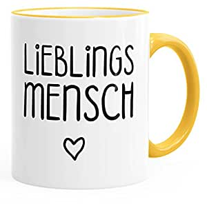 Moonworks Kaffee Tasse Lieblingsmensch Geschenk Tasse Liebe Freundschaft Partner Freundin Gelb Unisize
