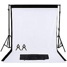 Phot-R 2x3m regolabile di sostegno del contesto schermo Heavy Duty professionale Photo Video Studio Tribuna Sfondi Kit Sistema 2x 3mx3m nero di tessuto non tessuto 2 Clip mussola Carry Bag