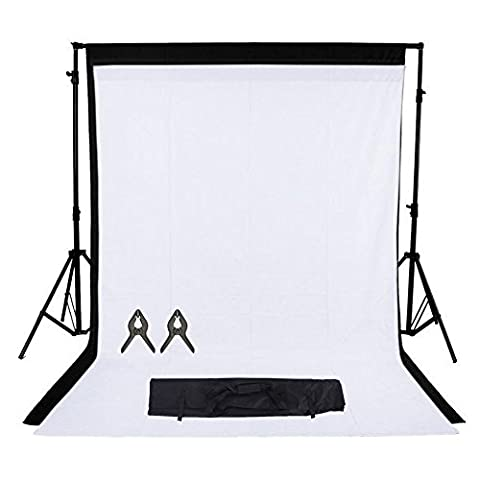Phot-R 2x3m réglable Support écran Backdrop Heavy Duty Professional Photo Studio stands Kit système 2 x 3mx3m Fond noir non tissé blanc 2 Muslin clips Carry