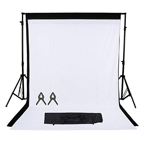 Phot-R 2mx3m regolabile Heavy Duty Photo Professional Studio del contesto di sostegno dello schermo Stand Kit sistema con 2x 3mx3m Nero Bianco 100% mussola di cotone di colore Sfondi 2 Clip mussola + custodia da trasporto