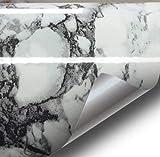 Schwarz Weiß geäderter Marmor, Vinyl glänzend Architektonische Wrap für Home Office Möbel Tapete Tile Tabelle 61cm X 6,5Ft Rolle, Vinyl, schwarz / weiß, 24