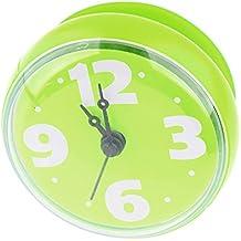 Reloj de pared de la ducha, lommer ABS y goma impermeable reloj de pared con ventosa para baño, Verde, 2.8x1.4x2.8inch