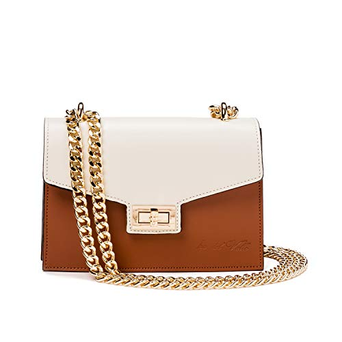 Ira del Valle, Handtasche für Damen/Junge Frauen, Elegante, modische Pochette mit Kette als Trageriemen, Kleine Handtasche, Clutch aus Echtleder, Modell Venezia, Made in Italy (Milch und Leder) -