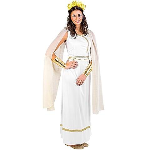 Frauenkostüm griechische Göttin Olympia | Langes, edles Kleid mit Pailletten-Verzierungen | goldfarbene Flügelärmel | Armmanschetten & Kopfschmuck (XXL | Nr. 300402)