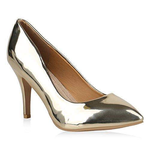 Stiefelparadies Spitze Damen Pumps Lack Metallic Party Schuhe Mid Heels Übergrößen 156738 Gold 42 Flandell