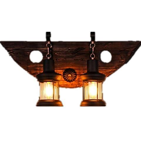 BJVB Verre de allée de type bouton Retro solide bois décoration Bar Café Restaurant Salon Chambre Double tête lit gamme lumière de 10-15 mètres carrés (23 * 23 * 68 cm)