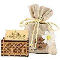 Cajas de Música de Madera Manivela, Wooden Musical Box Grabada Vintage Regalos para Niñas Papá Hija Cumpleaños Año Nuevo Navidad Día del Niño Día de San Valentín(Happy Birthady)
