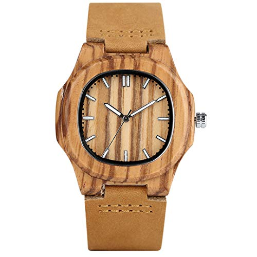 Spezielle Natur Holz Uhren FüR MäNner Viereckige Form Aus Echtem Leder Freizeit Sport Holz Armbanduhren Mann Ehemann Geschenke 2 -