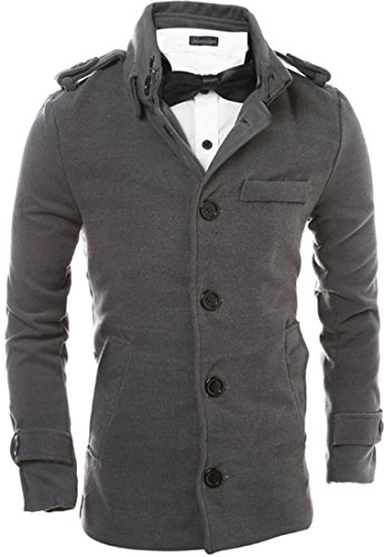 jeansian Herren Fashion Stand Collar Single Breasted Trench Long Coat Jacket Winter Overcoat Tops 9565 Gray