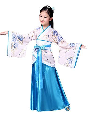XFentech Chinesischer Stil Hanfu - Mädchen Vintage Prinzessin Kleidung Party Performance Kostüm,Blau,EU 120=Tag 130