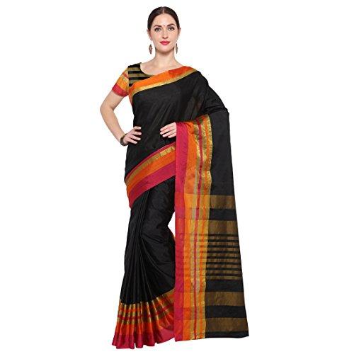 Kanchnar Women's Kota Silk Saree With Blouse Piece(553S1083, Black & Multi)