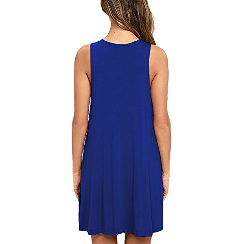 cooshional Damen Sommerkleid Shirtkleid Ärmelloses Casual Rundhals T-Shirt Kleid Minikleid Blusenkleid Freizeitkleid S-XXL Königsblau