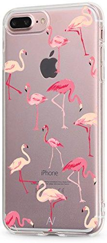 AVANA Kompatibel mit iPhone 7 Plus/iPhone 8 Plus Hülle Schutzhülle Flexibles Case Schutz Durchsichtige Tasche Transparente Silikon TPU Schale Dünne Muster Handyhülle Cover Motiv (Flamingo)