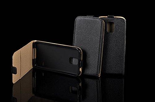 Preisvergleich Produktbild Leder-Imitat FLEXI für Samsung Galaxy S8 SM-G950U S8 G950 Hülle Etui Flip Cover Flexi Silikon Klapp Tasche (schwarz / black)