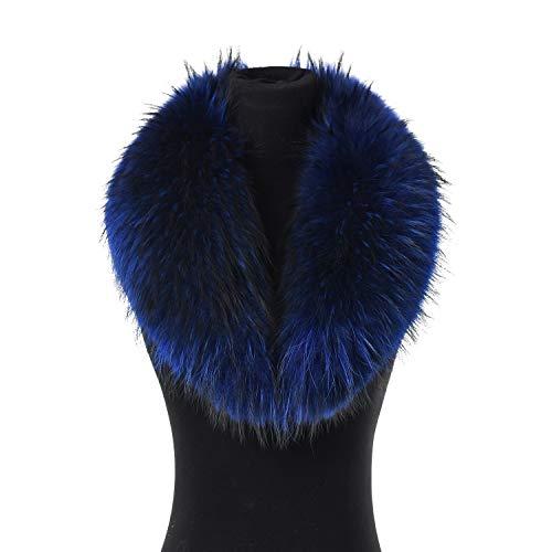 Ferand - collo sciarpa invernale calda in vera pelliccia tinta di procione, elegnate e staccabile, ideale per outfit - donna - blu reale - lunghezza: 80 cm