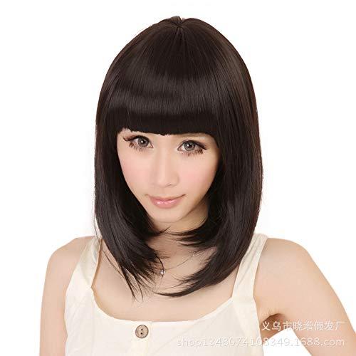 perücke Qi Liuhai BOBO Kopf, mittellange Perücke, Hochtemperaturseide, dunkelbraun -