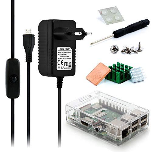 Aukru 5V 3000mA Micro USB Charger with Switch + Transparent Box + Heat Sink for Raspberry Pi 3 Model B / B +