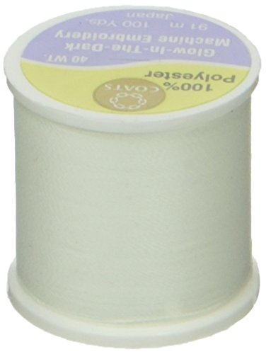 COATS Polyester Händen Maschine Stickgarn 100yd-white (In Dark The Stuff Glow)