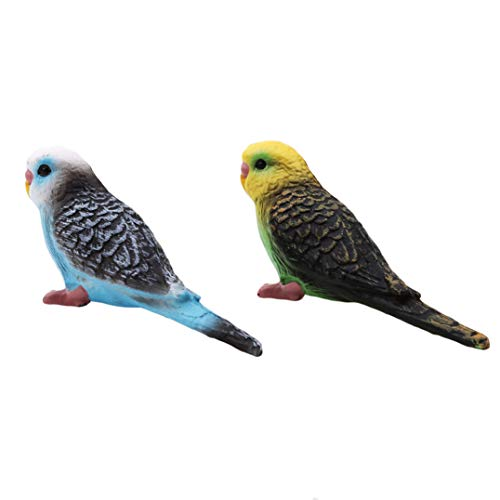 Garispace Nette Simulation Wald Papagei Miniatur Tier Modell vogel Figur Handwerk Dekoration Zoo Statue Spielzeug für Hauptdekoration(blauer Papagei) (Miniatur-wald Tiere)