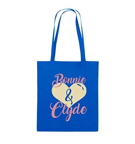 Commedie - Bonnie & Clyde - Motivo Cuore - Borsa In Juta - Manico Lungo - 38x42cm - Colore: Nero / Bianco-neon Verde Blu Royal / Rosa-beige