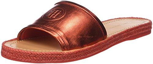 Tommy Hilfiger Damen Metallic Flat Mule Peeptoe Sandalen, Rot (Red Clay 630), 36 EU