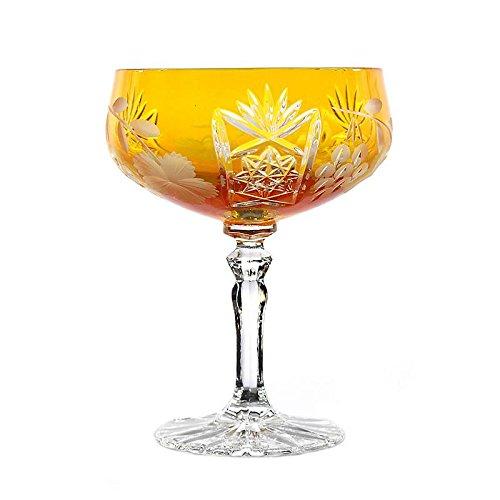 """Sektschale, Cocktailschale, Champagnerschale """"TRAUBE"""" 200ml, gelb, handgeschliffen, Bleikristall Glas, moderner Style (GERMAN CRYSTAL powered by CRISTALICA)"""