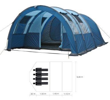 45403 Zelt für 4 Personen mit Vorzelt - Familienzelt