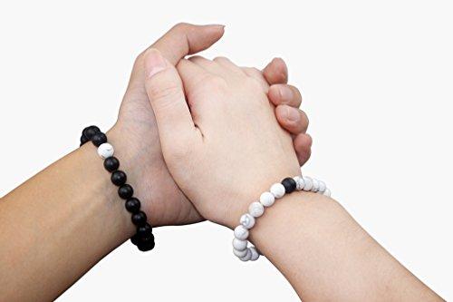 COAI® Naturstein Tigerauge/Weißer Türkis/Labradorit/Rosenquarz/Sonnenstein/Aquamarin/Malachit Geschliffener Onyx 7 Farboptionen ein Paar Partner Armbänder