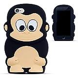 Zooky® Noir singe silicone Coque / Étui / Cover pour Apple iPhone 6 6S (PAS iPhone 6 Plus)