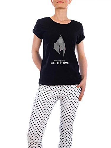"Design T-Shirt Frauen Earth Positive ""all the time"" - stylisches Shirt Kindermotive Comic von Lingvistov Schwarz"