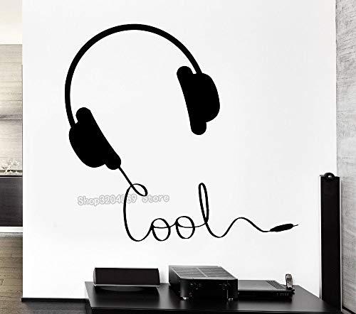 Ajcwhml Günstige Mode Musik Vinyl Aufkleber Kopfhörer Musik Zeichen Rock Pop Songs Cooles Dekor Für Schlafzimmer Wandaufkleber Dekoration 56 * 53 Cm