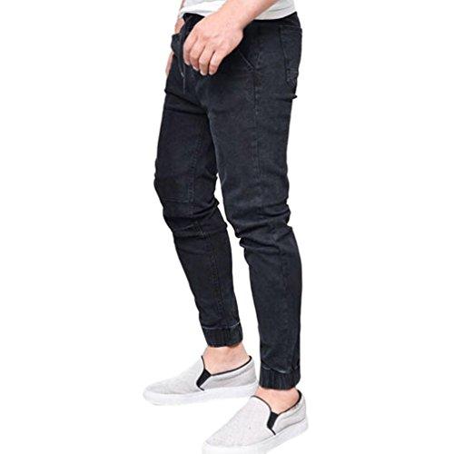 Vaqueros hombre , Amlaiworld Moda Pantalones vaqueros ajustados elásticos de hombres Pantalones rectos largos casuales de fitness Pantalones de mezclilla slim fit Pantalones Jogger Hombre Deportivos (Negro, L)