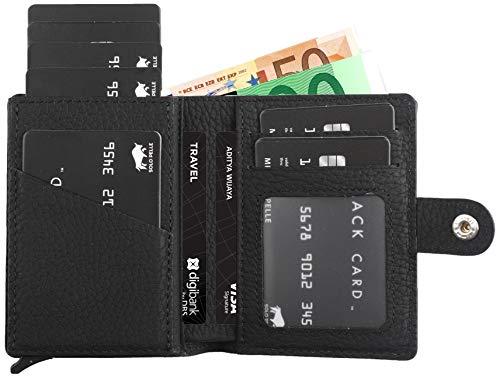 Solo Pelle Geldbörse für 15 Karten + Geldscheine + Kleingeld geeignet | Kreditkartenetui Kartenetui mit RFID aus echtem Leder Q-Wallet (Matt Schwarz + Kleingeldfach) -