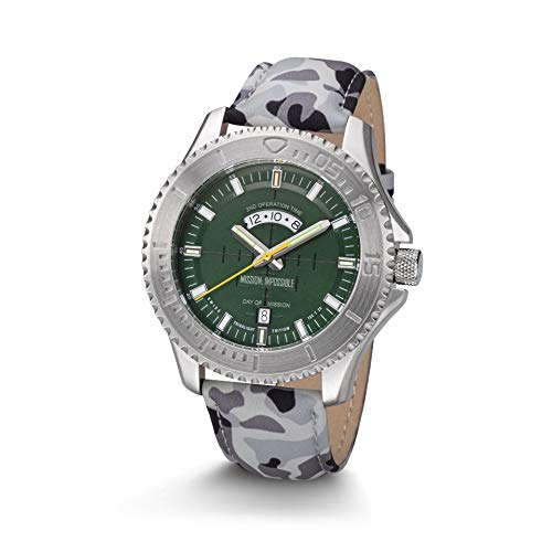 Kronsegler Mission Impossible H3 Tritium Uhr Stahl-Gruen Lederband Camouflage