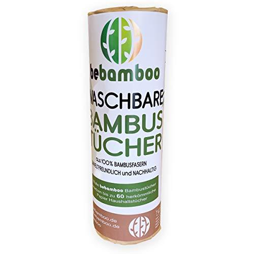 Bambus Küchenrolle | Waschbare Bambustücher | Saugstarke und Reißfeste Haushaltstücher | küchenrolle Wiederverwendbar | 100% Biologisch abbaubar | Papiertücher | schnelltrocknend |