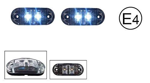 2x LED 12V WEISS BEGRENZUNGSLEUCHTE UMRISSLEUCHTE POSITIONSLEUCHTE SEITENMARKIERUNGSLEUCHTE LKW E-Prüf E9 (Led-positionsleuchten)