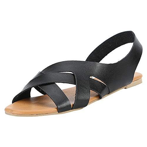 Damen Flats Gladiator Sandalen, Sommermode Design Sling Back Low Wedges Sandalen Peep Toe Slip on Summer Beach Schuhe Leder Rom Sandale (Damen Sling Schuhe, Back, Schwarz)