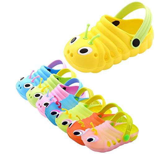 Dorical Süß Karikatur Caterpillar Hausschuhe Sommer Unisex Kleinkind Baby Jungs Mädchen Mädchen Indoor-Schuhe Sandalen Strand Sandalen Flip Schuhe Strandschuhe Badezimmer Schuhe(Gelb,26 EU)