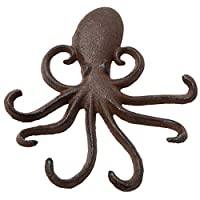 Comfify Cast Iron Octopus Wall Hook - Decorative Swimming Octopus Tentacles Key Hook for Entryway, Door way or Bathroom - Novelty Wall Décor - Screws and Anchors Included