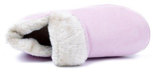 AgeeMi Shoes Femmes Chaussons Coton Flat Bottes de Neige Rose