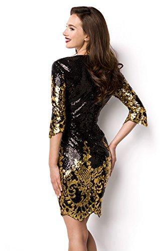 Pailletten-Kleid mit sexy V-Schnitt und halblangenl Ärmeln Schwarz/Gold