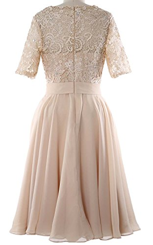 MACloth Elegant Short Mother of the Bride Dress Half Sleeves Lace Formal Gown Amethyst