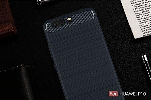 EKINHUI Case Cover Dünne und Leightweight gebürstete Carbon Fibre Robuste Rüstung Back Cover Stoßstange Fall Shockproof Drop Resistance Shell Cover für Huawei P10 ( Color : Green ) Blue