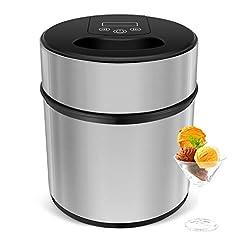 Idea Regalo - MVPOWER 2L Gelatiera, Macchina del Gelato IN ACCIAIO INOSSIDABILE per Yogurt Freddi e Sorbetti con Timer and con Funzione Ricette, Completamente Smontata per Facile da Pulire