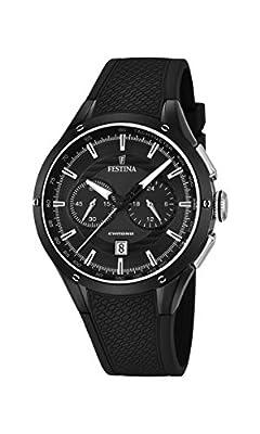 Festina Men's Quartz Watch with Black Dial Chronograph Display and Black Rubber Strap F16832/1