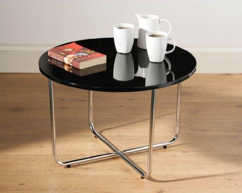 Round coffee table black High Gloss top chrome legs