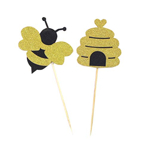 Amosfun 20 stücke Glitter Bumble Bee Kuchen Cupcake Toppers Kuchen Dekorationen Für Geburtstag Baby Shower Party Supplies Dekorationen (Bumble Bee Kuchen Dekorationen)